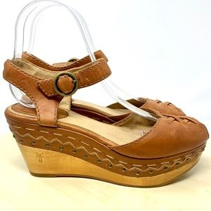 Frye Blair lace up sandals wood wedge 5.5 brown